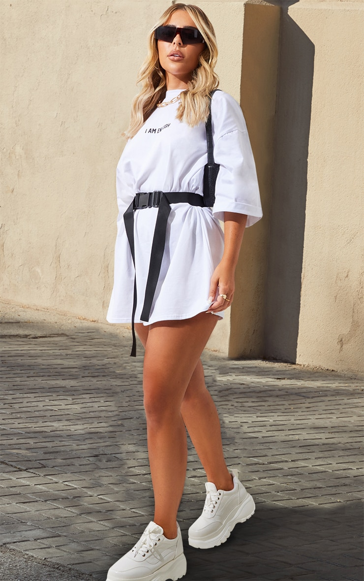 White I Am Enough Oversized Slogan T Shirt Dress image 4