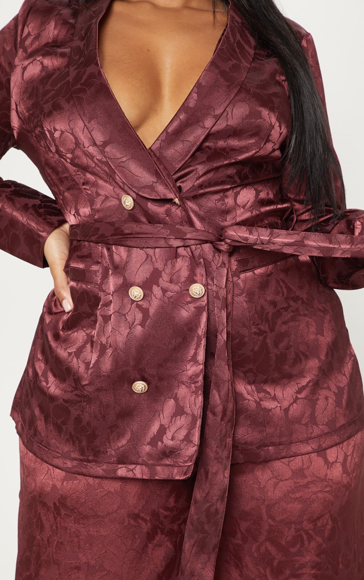 Plus Burgundy Satin Jacquard Long Line Blazer 5