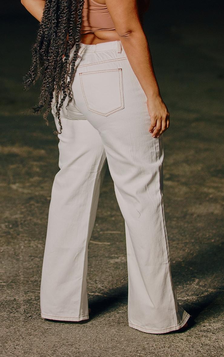 Plus White Tobacco Stitch Seam Detail Split Hem Jeans 3