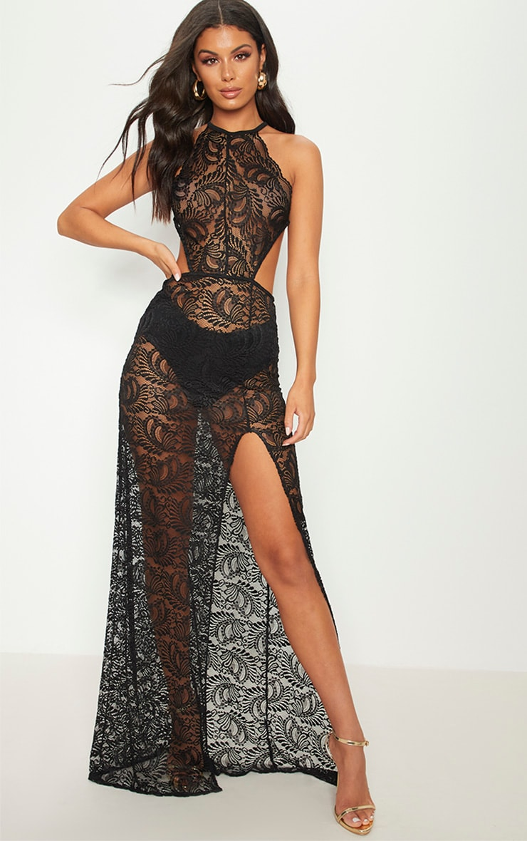 Black Sheer Lace Strappy Back Lace Maxi Dress