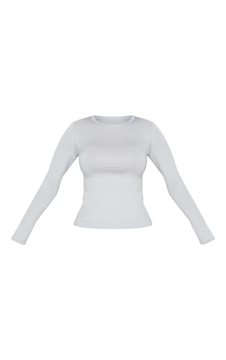 Basic Dove Grey Long Sleeve Fitted T Shirt  3