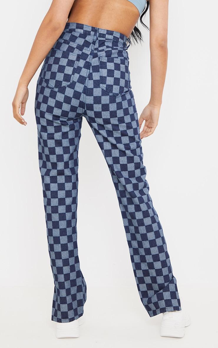 Tall  Blue Split Hem Checkerboard Jeans 3