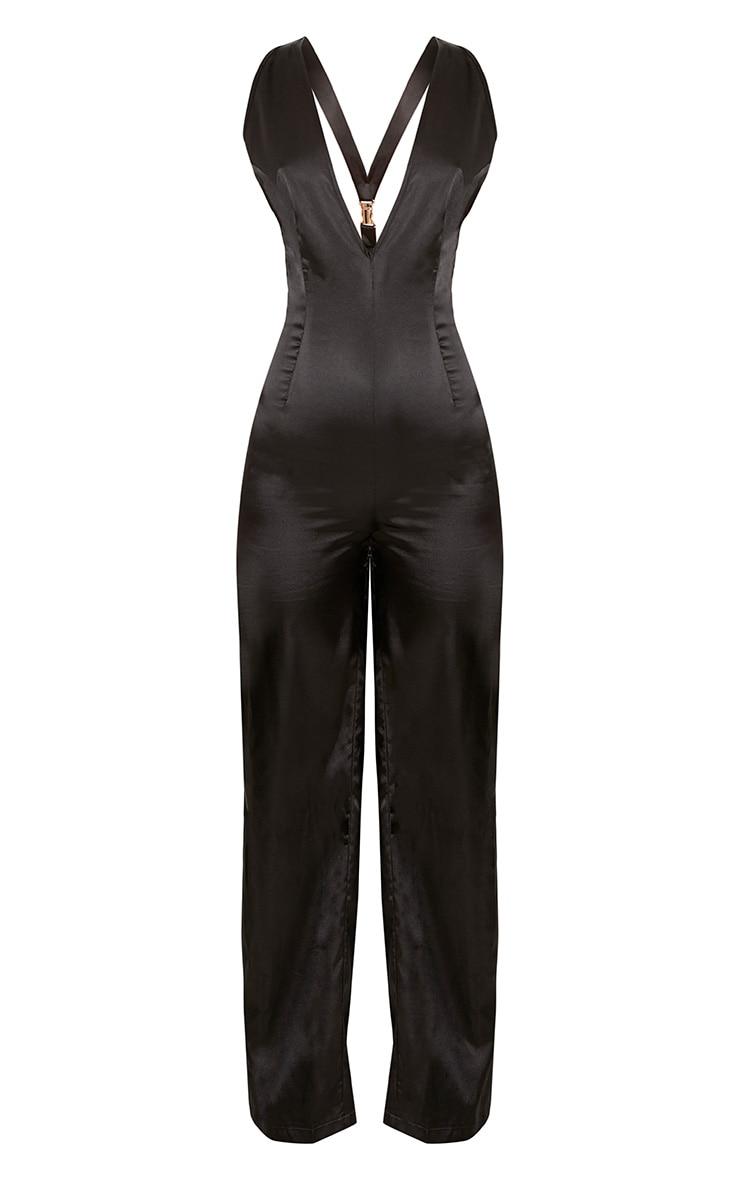 Leona Black Satin Clip Back Jumpsuit  3