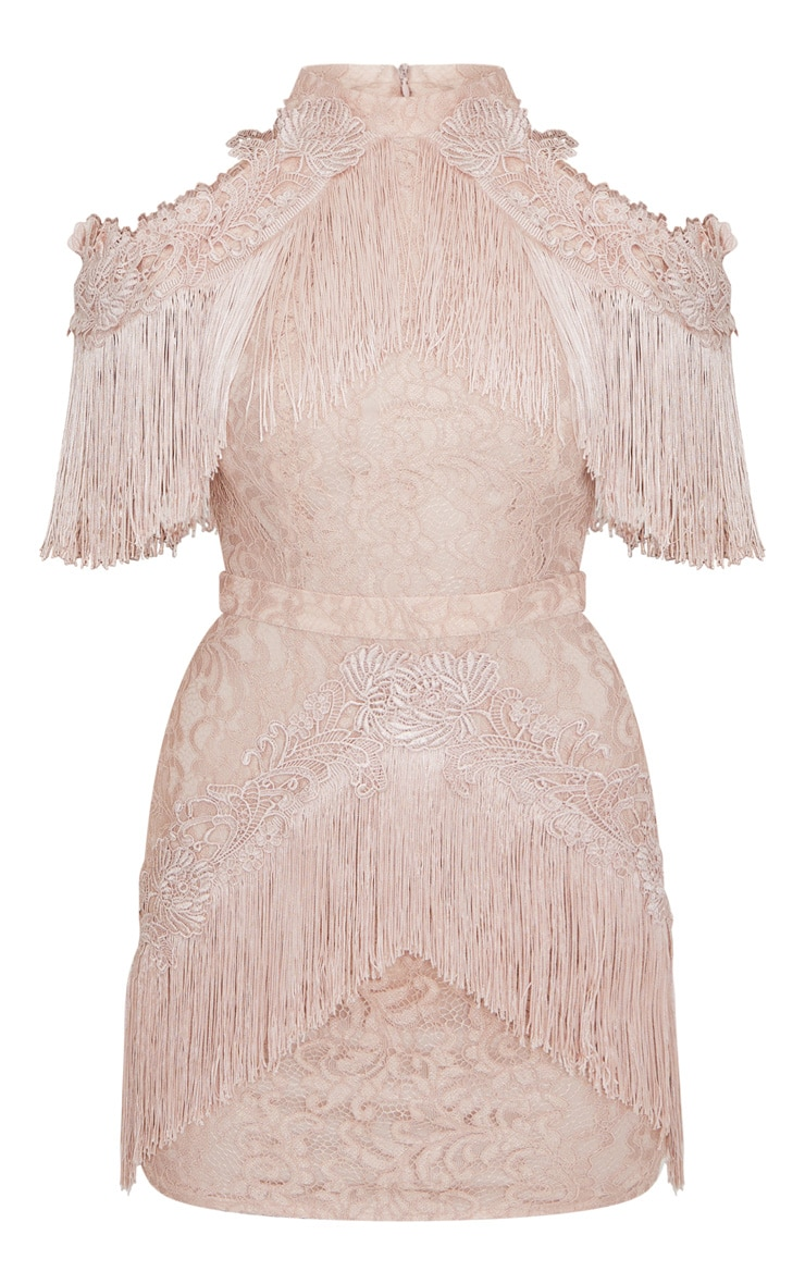 Dusty Pink Cold Shoulder Lace Tassel Trim Bodycon Dress 3