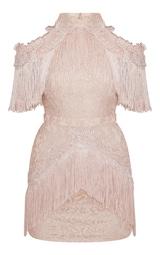 Dusty Pink Cold Shoulder Lace Tassel Trim Bodycon Dress 3