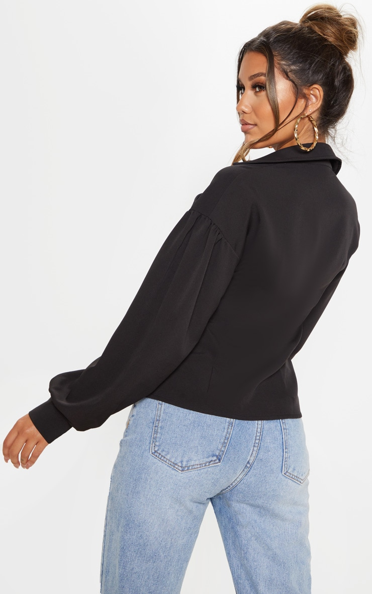 Black Pocket Front Puff Sleeve Oversized Shirt 2