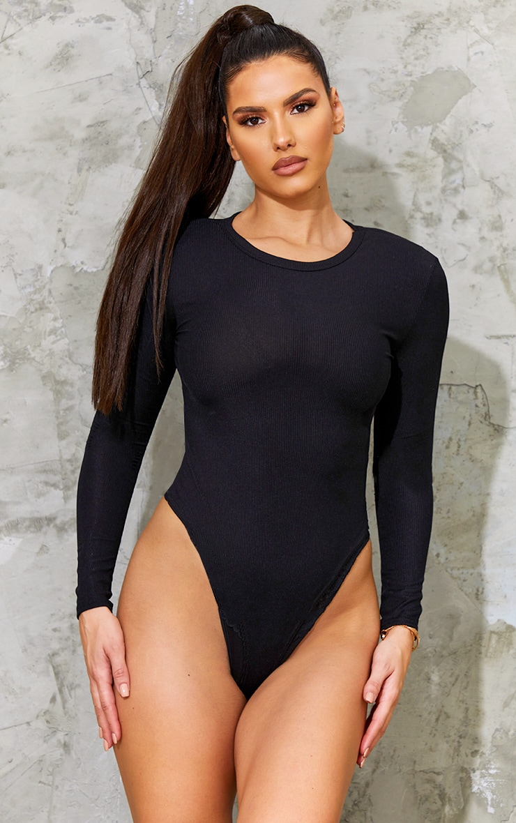 Tall Black Ribbed Shoulder Pad Long Sleeve Bodysuit 2