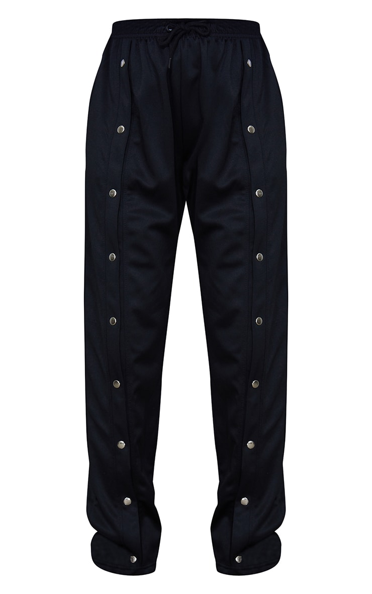Black Popper Front Track Joggers 5