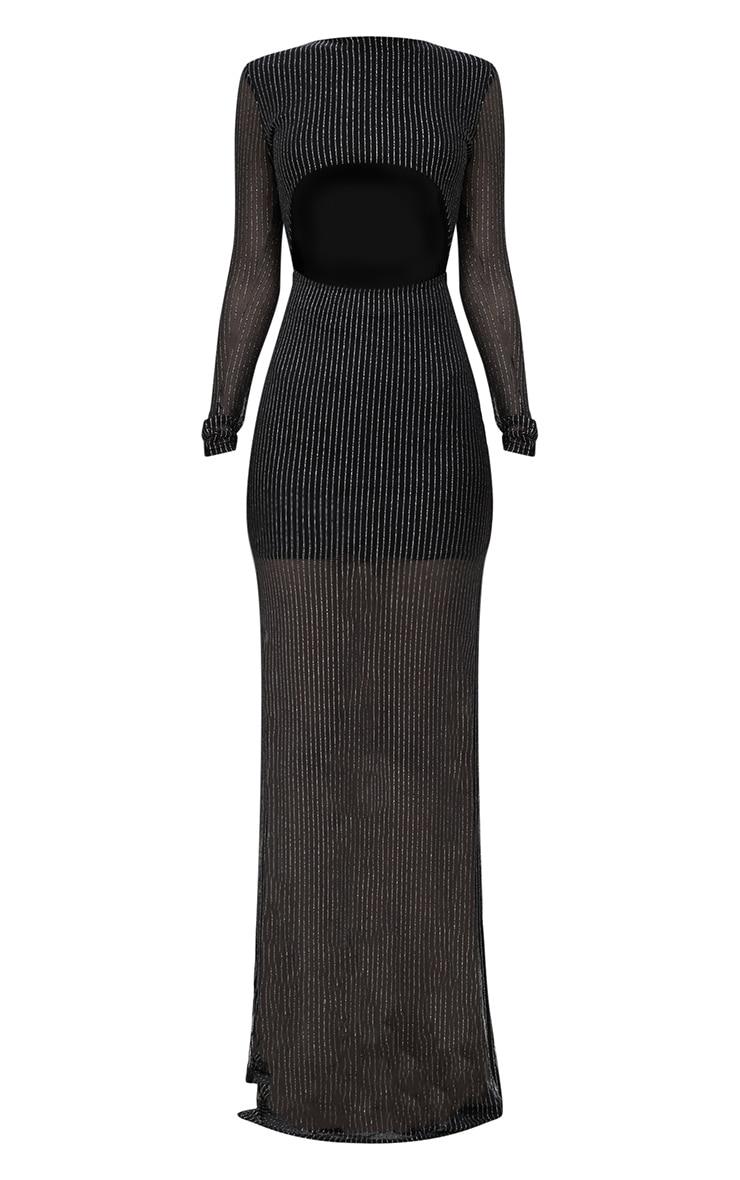 Black Metallic Stripe Cut Out Detail Maxi Dress 3