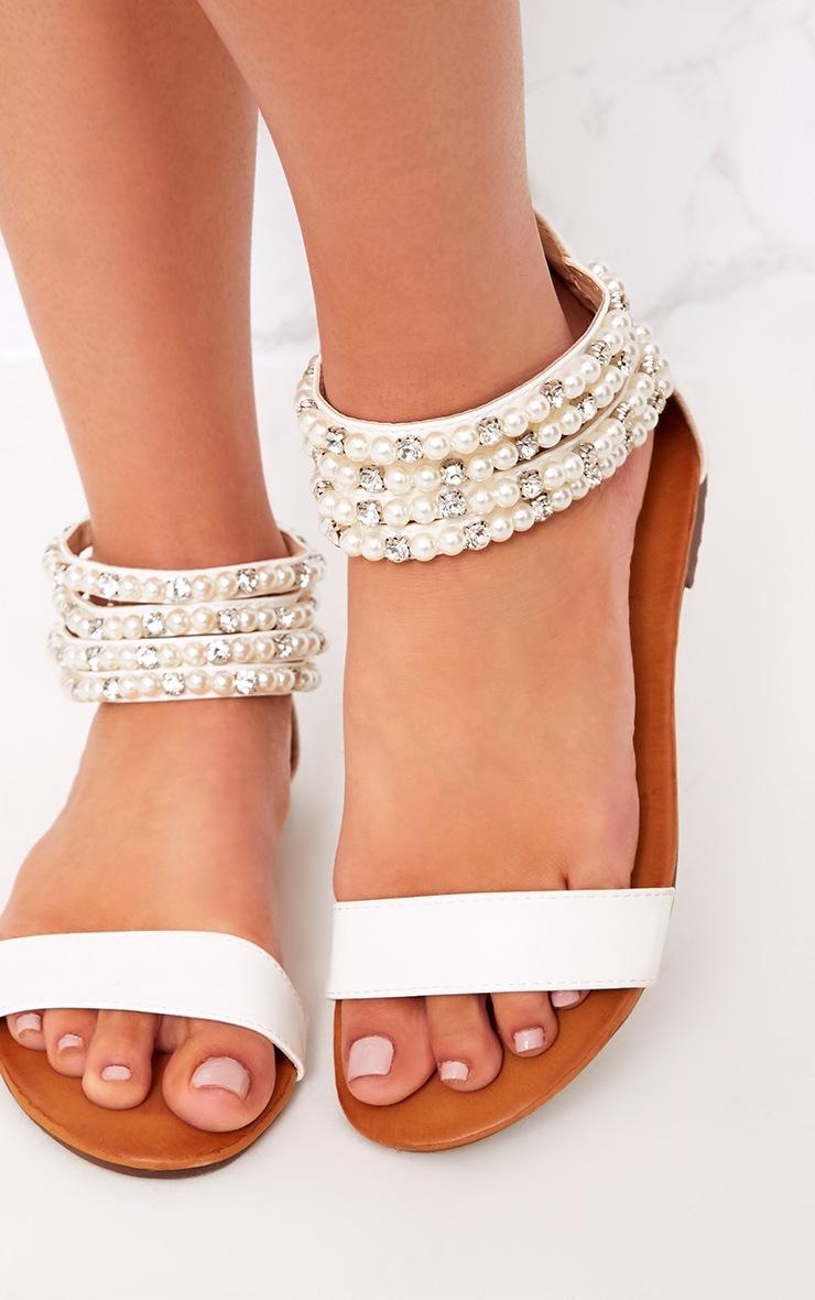 Paloma Cream Pearl Strap Sandals  5