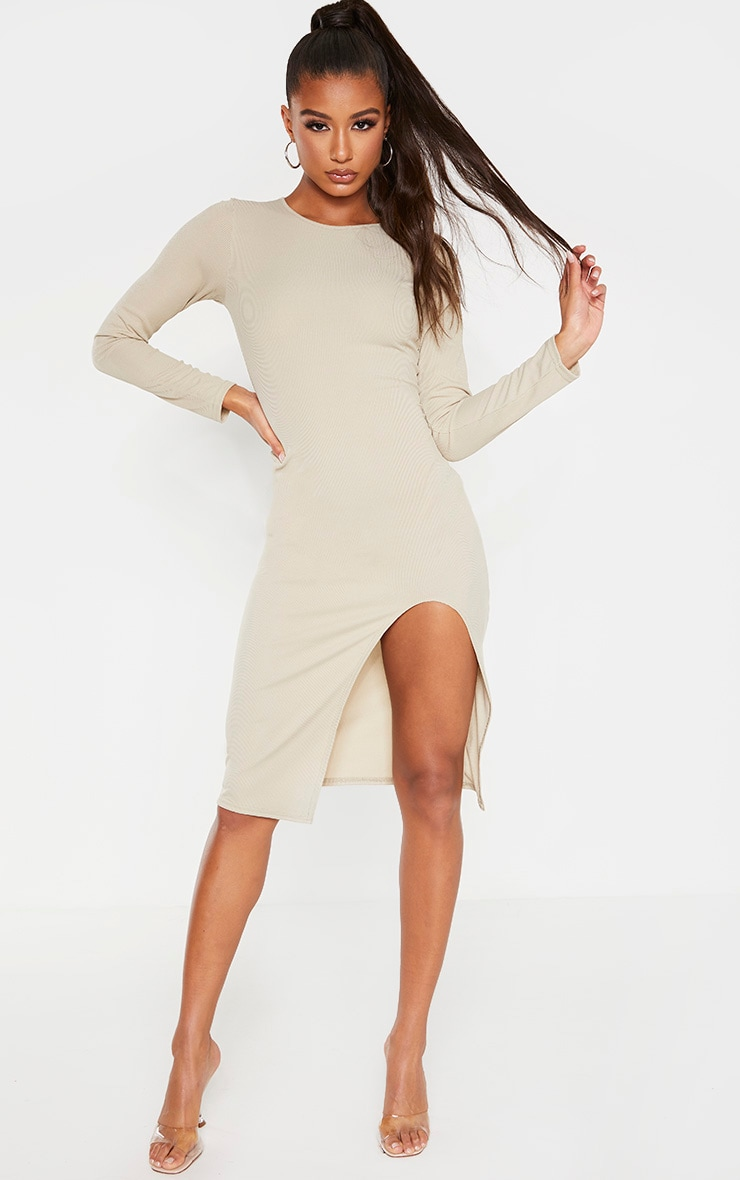 Biscuit Rib Long Sleeve Split Front Midi Dress 1