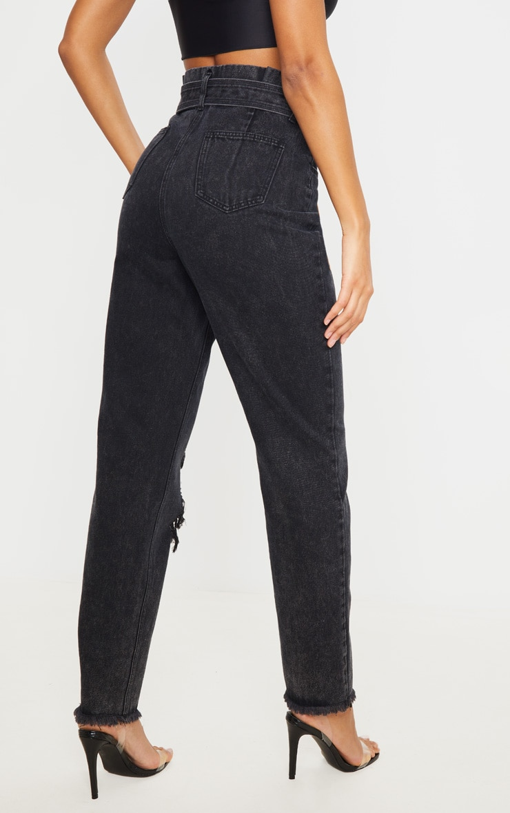Washed Black Distressed Knee Ripped Jeans 3