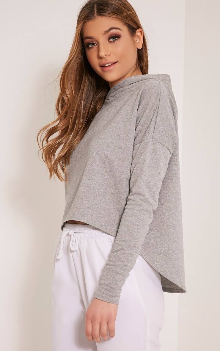 Aviana Grey Drop Hem Crop Hoodie 1