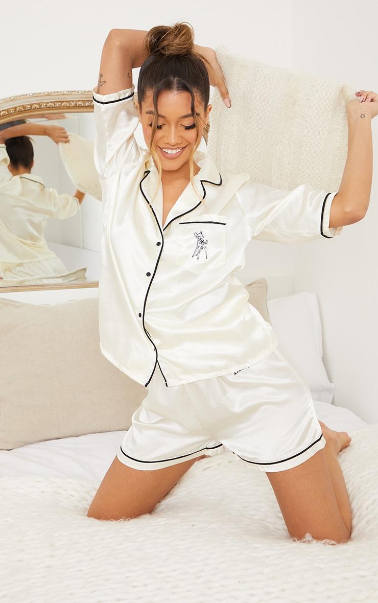 Ivory Disney Bambi Embroidered Button Up Satin Shorts PJ Set 1