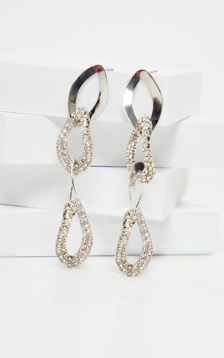 Silver Diamante Link Chain Drop Earrings 2