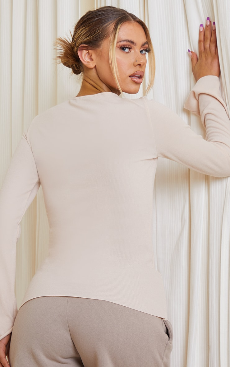 Oatmeal Marl Crew Neck Long Sleeve Top 2