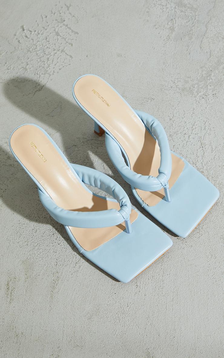 Pastel Blue Pu Tube Toe Thong Mid Heels 4