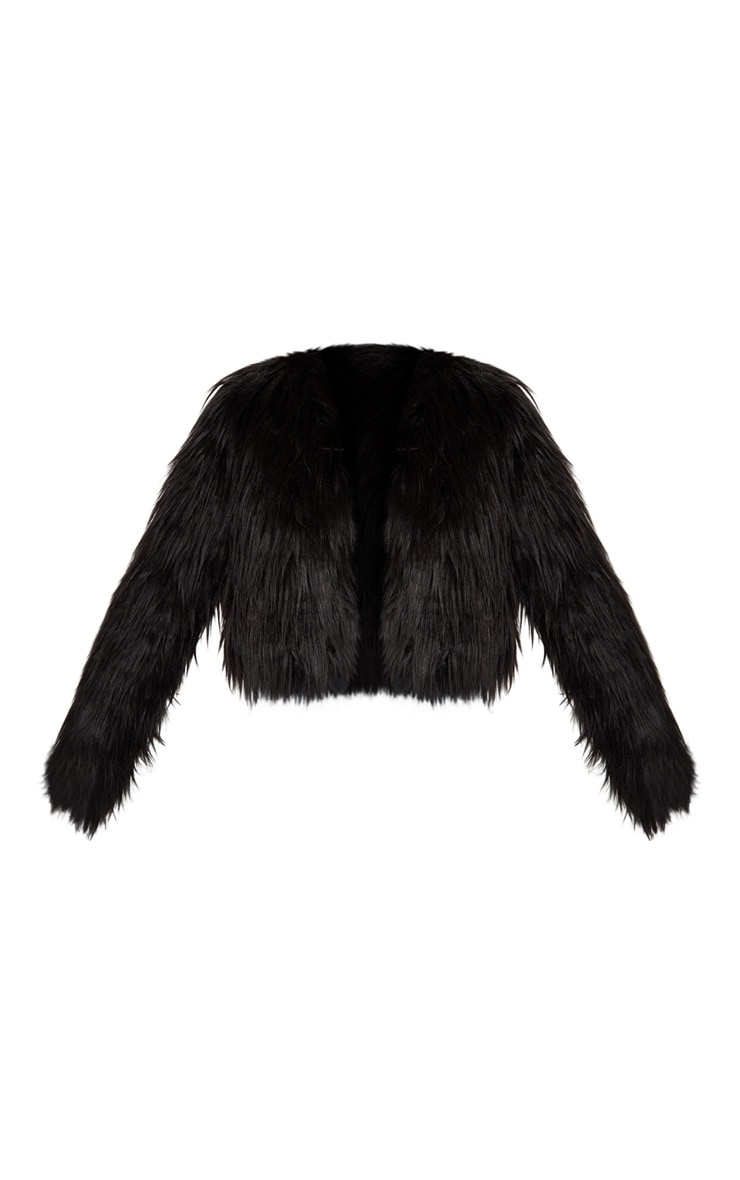 Liddie Black Faux Fur Shaggy Cropped Jacket 3