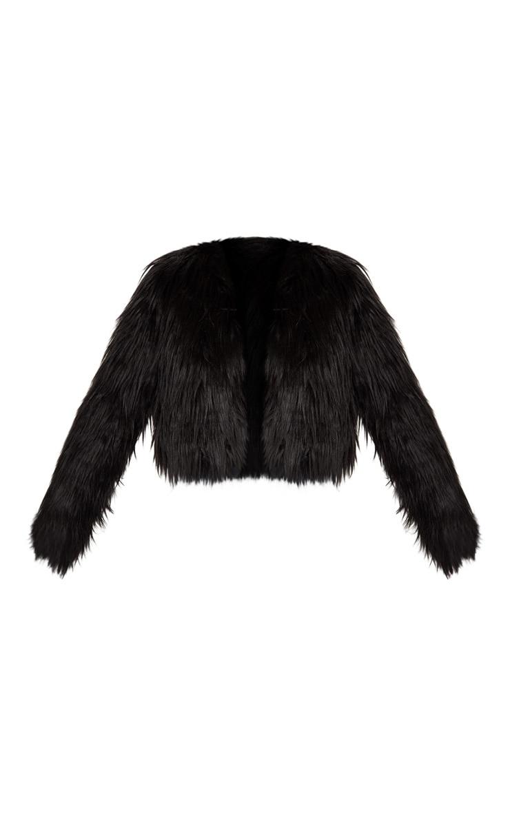 Veste courte hirsute en fausse fourrure noire 3