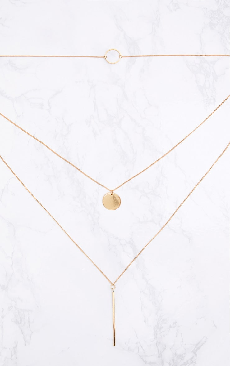 Gold Layered Disk Plunge Necklace 3