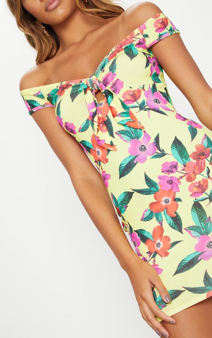 Yellow Floral Bardot Bodycon Dress 5