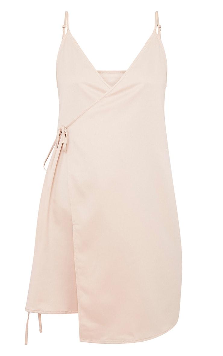 Priah Champagne Choker Neck Wrap Over Cami Dress 3
