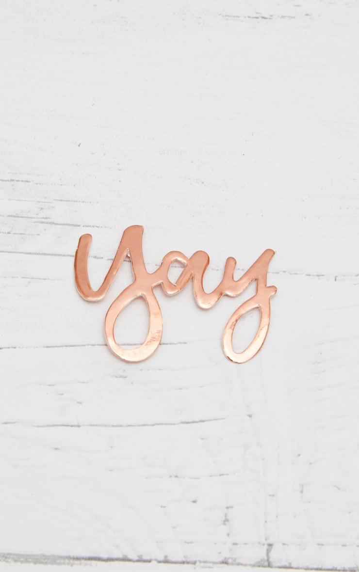 Ginger Ray Metallic Rose Gold Yay Word Confetti 2
