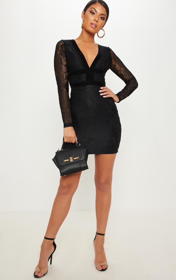 Black Lace Velvet Trim Open Back Bodycon Dress 3