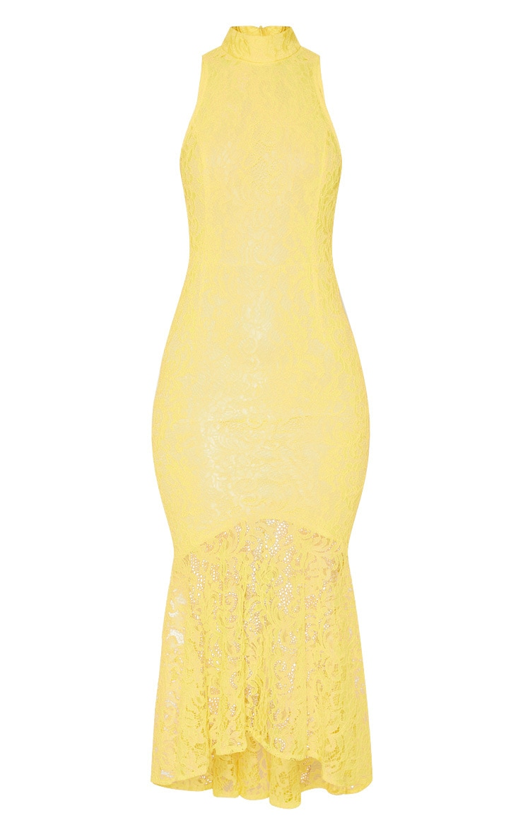 Bright Yellow Lace High Neck Fishtail Midaxi Dress 3