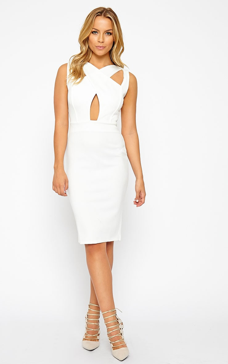 Gracen Cream Cross Front & Back Midi Dress 3