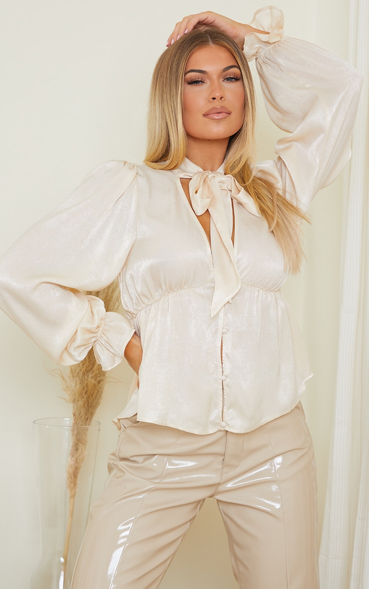 Champagne Satin Pussybow Long Sleeve Blouse 1