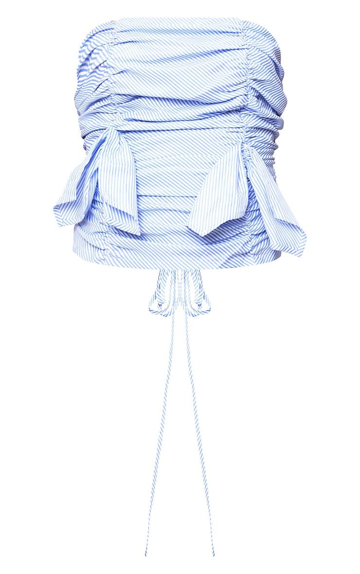 Blue Stripe Ruched Frill Bandeau Lace Up Back Shirt 3