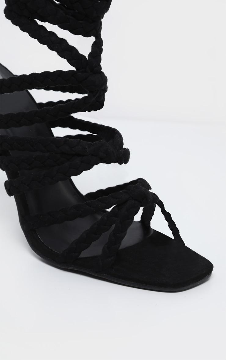 Black Plaited Square Toe Lace Up Sandal 4