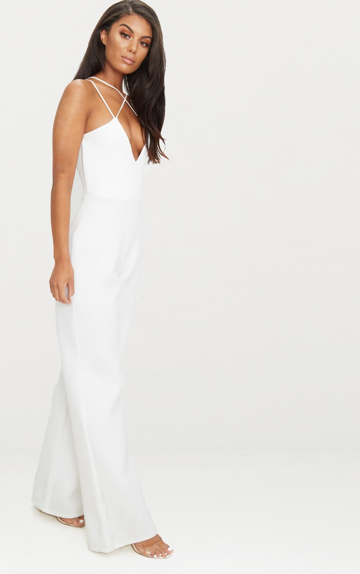 White Scuba Cross Strap Jumpsuit 3