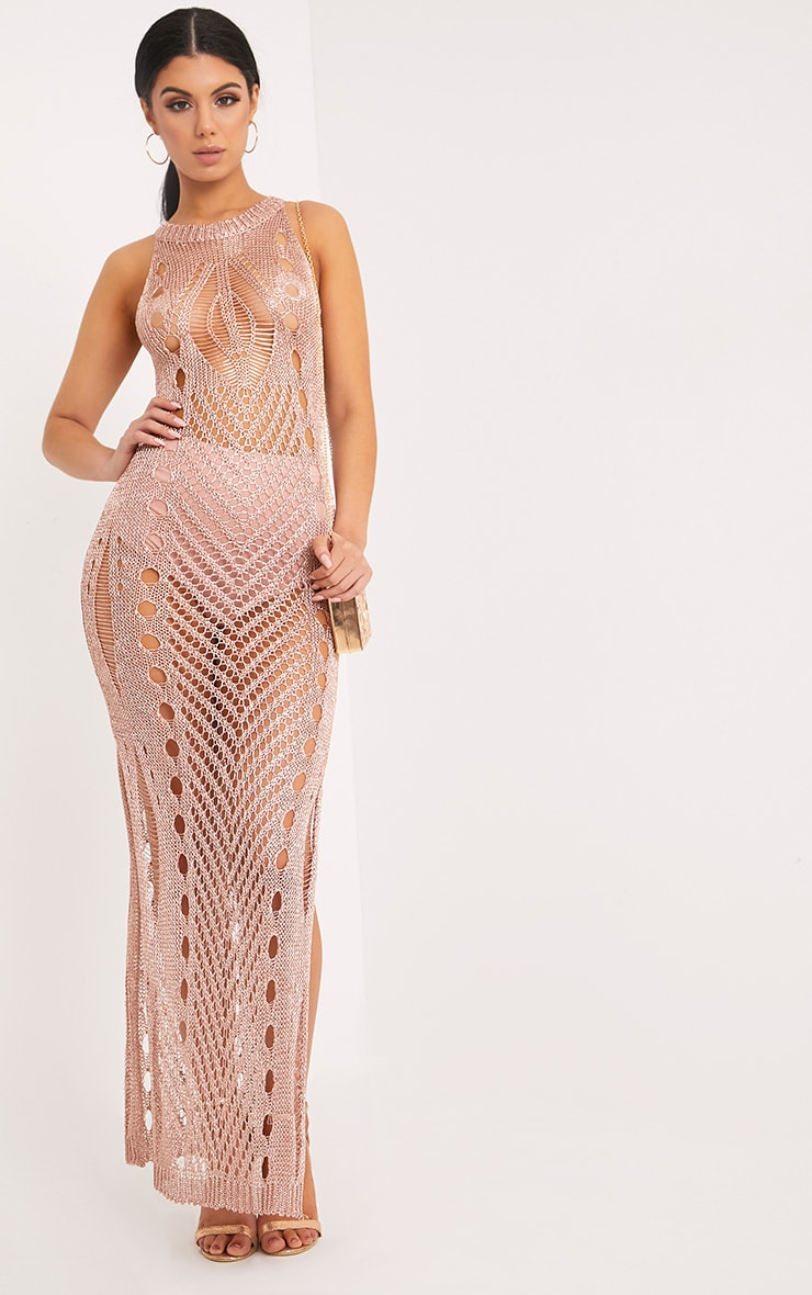 Donatella Rose Gold Metallic Pointelle Knit Maxi Dress 4