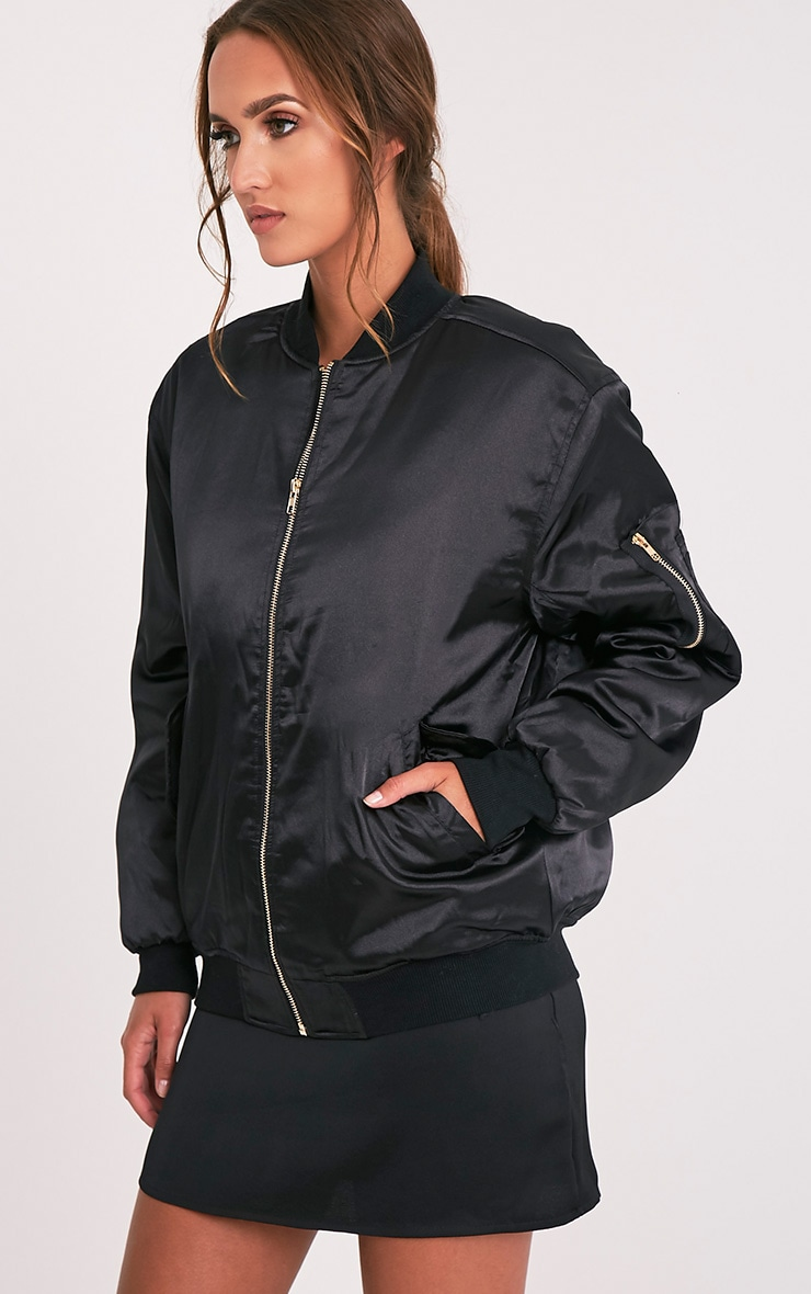 Cruz Black Satin Oversized Bomber Jacket 3