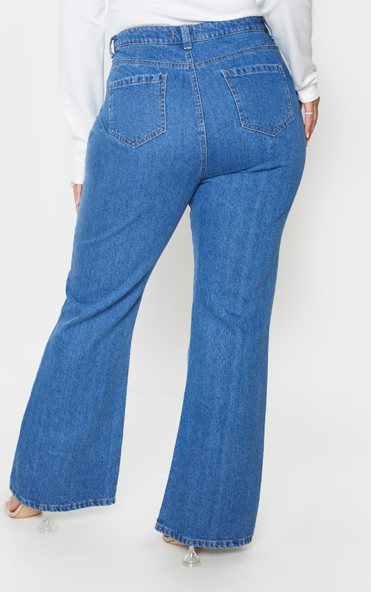 Plus Mid Blue Wash High Waist Flared Jeans 2