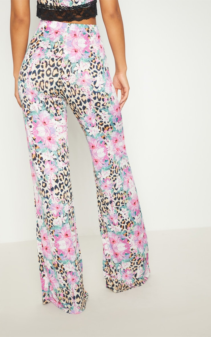 Pink Slinky Mixed Print Flare Trouser  3