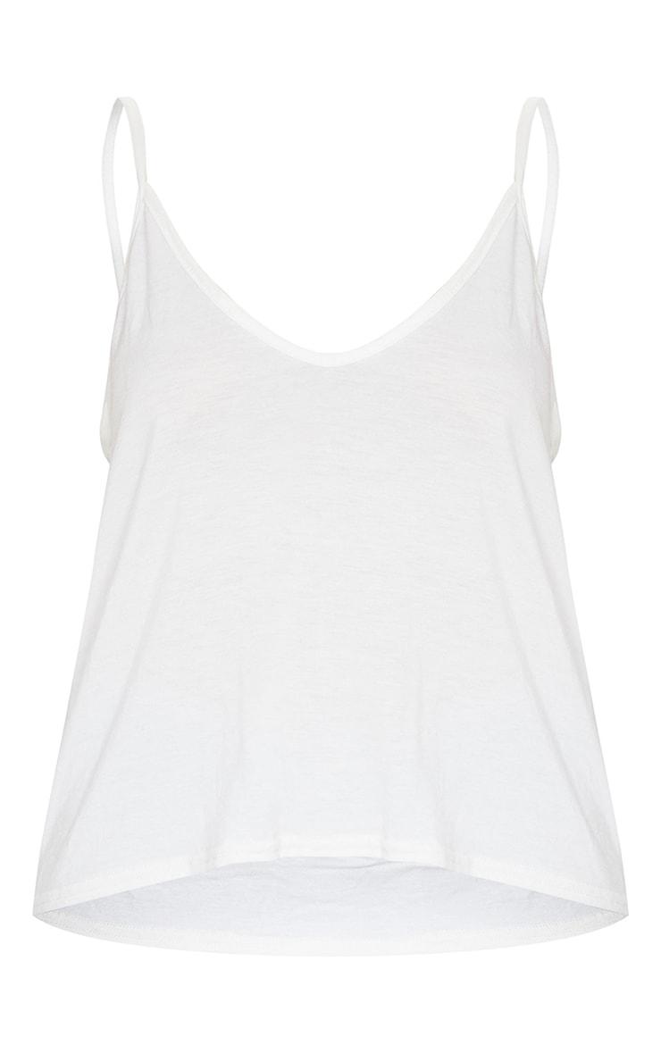 Basic Cream Jersey V Neck Swing Vest 5