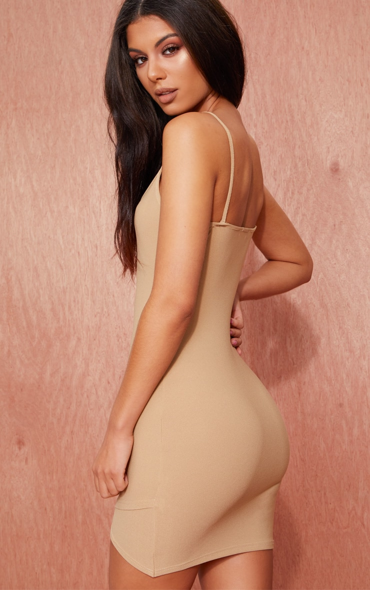 Camel Strappy Wrap Skirt Bodycon Dress 2