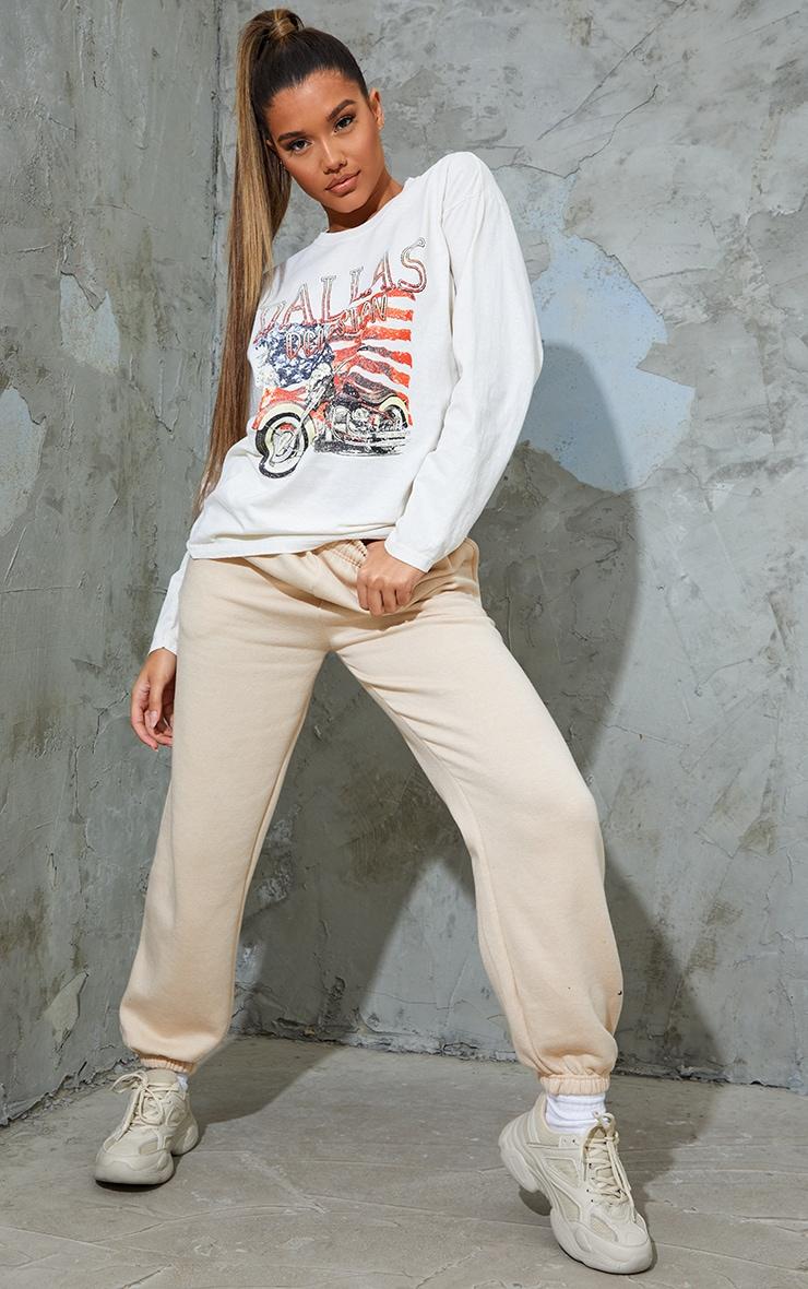 Cream Dallas Printed Stone Washed Long Sleeve T Shirt 3