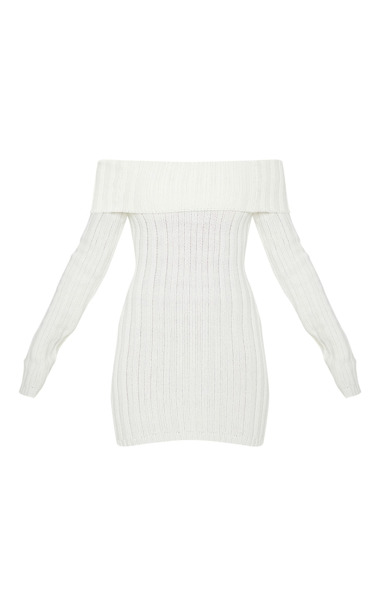 Cream Chunky Knitted Bardot Dress  3