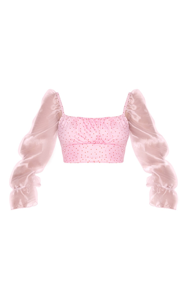 Pink Polka Dot Organza Long Sleeve Crop Top 5