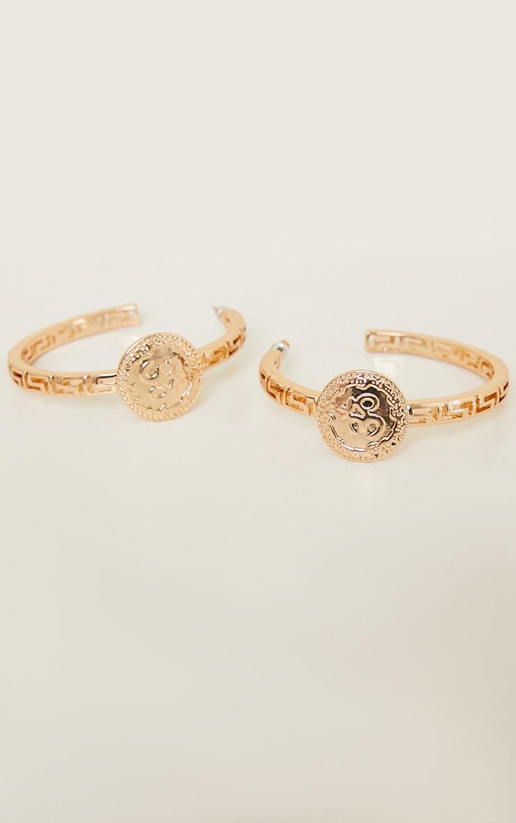 Gold Greek Cut Out Circle Statement Hoop Earrings 2