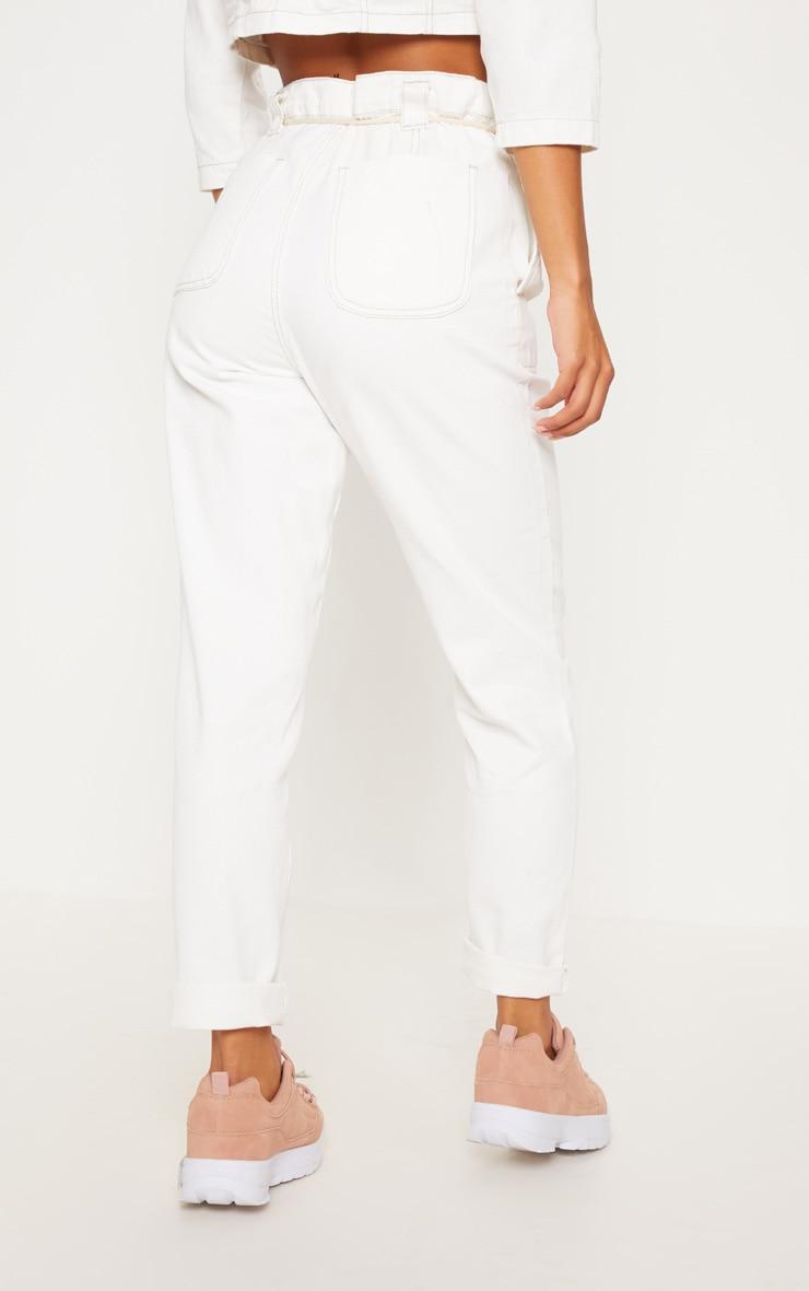 Ecru Tie Waist Jeans 4
