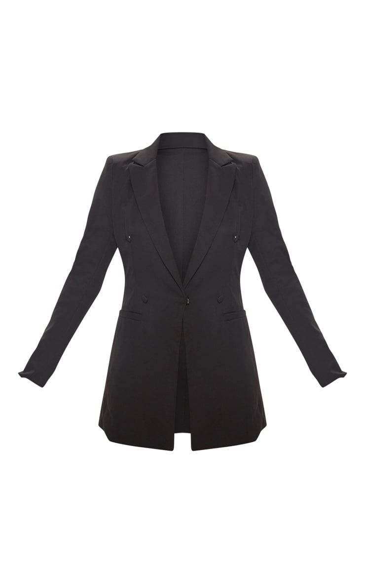 Black Double Breasted Woven Blazer 3