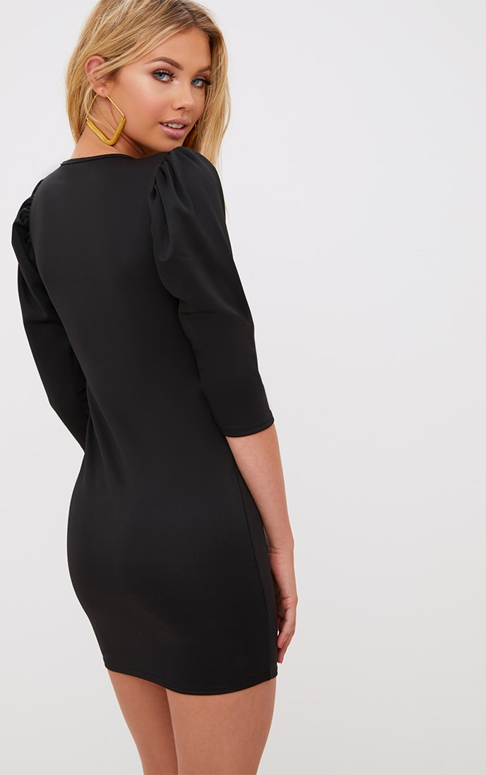 Black Puff Detail 3/4 Sleeve Bodycon Dress 1
