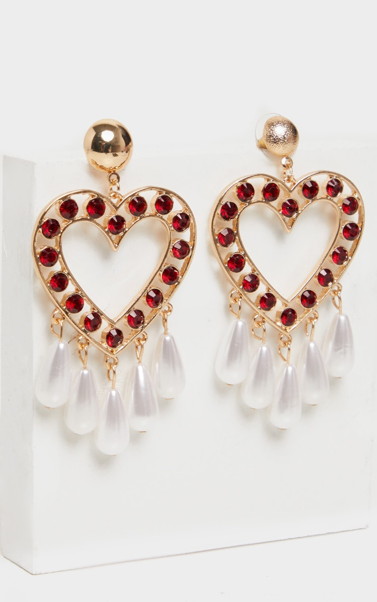 Red Crystal Pearl Heart Drop Earrings 3