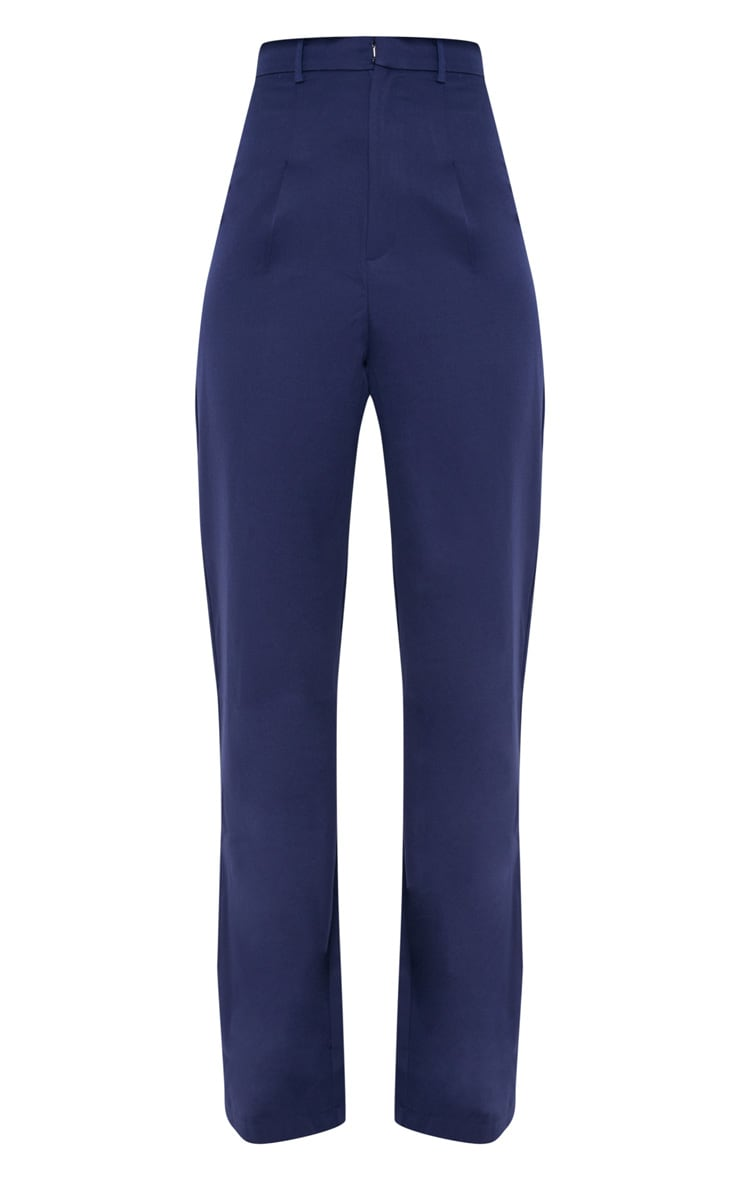 Tall Navy High Waist Wide Leg Trousers 3