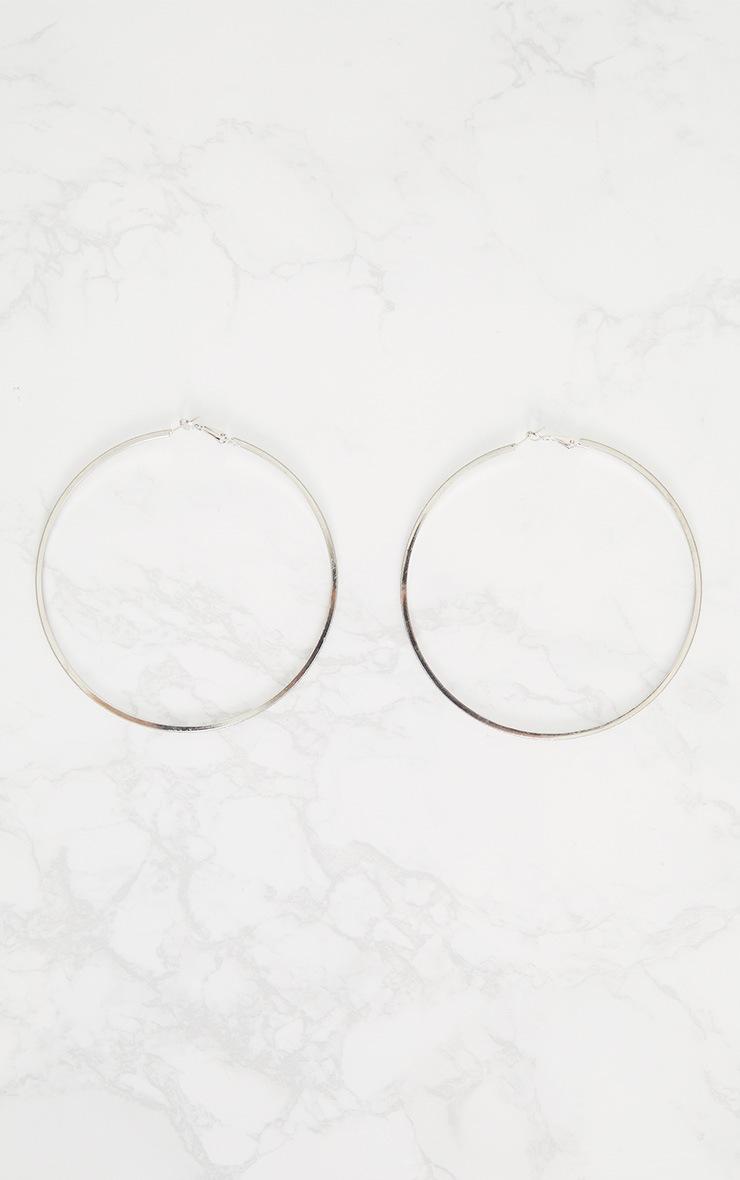 Silver Extra Large Glitter Hoop Earrings 4